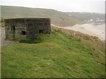 SW3526 : Pillbox overlooking Whitesand Bay by Philip Halling
