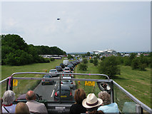 TQ2258 : View along Grand Stand Road on Derby Day by Nick Smith
