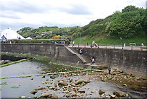 TA0390 : Sea wall, Mouth of Scalby Beck by N Chadwick
