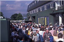 TQ2472 : Crowd outside Centre Court at Wimbledon 1987 by Barry Shimmon