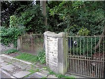 SE0722 : Gates of house at Pickwood Scar, Norland by Michael Steele