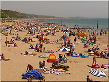 SZ1191 : Boscombe: busy beach on hot Sunday afternoon by Chris Downer