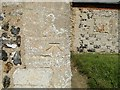 TF8529 : Bench Mark at Tattersett church, Norfolk by Adrian S Pye