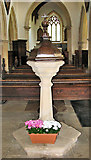 TF7928 : St Martin's church in Houghton - C18 baptismal font by Evelyn Simak