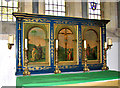 TF8628 : St Margaret's church in Tatterford - reredos by Evelyn Simak