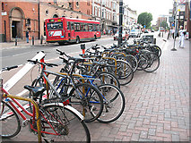 TQ2775 : Cycle stands outside Clapham Junction station by Stephen Craven