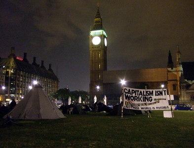 TQ3079 : Democracy Village below Big Ben by ceridwen