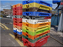 NT6779 : United Colours of Fishboxes at Victoria Harbour, Dunbar by Richard West