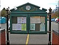 SO9080 : Hagley Parish Council notice board and clock, Worcester Road by P L Chadwick