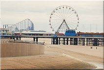 SD3036 : Blackpool: The beach, sea wall and beyond by Eugene Birchall