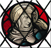 TG1508 : The church of SS Mary and Walstan in Bawburgh - stained glass roundel by Evelyn Simak