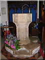 TG1807 : St.Andrew's Church Font, Colney by Adrian Cable