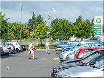 SK4625 : Car park at Donnington Services by Jonathan Billinger