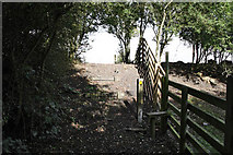 SK7528 : Stile on the old railway embankment by Kate Jewell