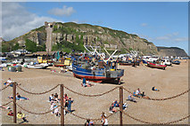 TQ8209 : Fishing Boats and East Hill by Oast House Archive