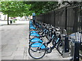 TQ3179 : Barclays Cycle Hire docking station on Borough Road, near Elephant and Castle by David Anstiss