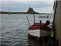 NU1341 : Tied Up at Holy Island (Lindisfarne) Breakwater by Richard West