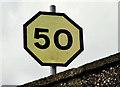 J4791 : Railway speed limit sign, Whitehead by Albert Bridge
