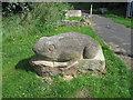 NZ3663 : Frog at entrance to Temple Memorial Park by Alex McGregor