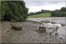 SW8243 : Calenick Creek at low tide (plus rubbish) by Graham Loveland