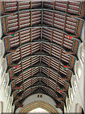 TL8564 : St Edmundsbury cathedral, Bury St Edmunds - nave roof by Evelyn Simak