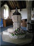 TM2850 : Melton, St Andrew: font by Basher Eyre
