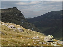 NY2213 : Perched Boulder on 'Seatoller Fell' by Trevor Littlewood