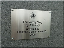 SU9850 : Plaque at the bottom of the Stag Hill sculpture by Basher Eyre