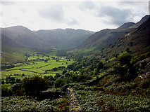 NY3006 : Great Langdale pastures by Karl and Ali