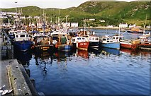 NM6797 : Fishing boats in Mallaig harbour, 1992 by David Gearing