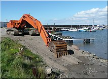 NS2107 : Excavator at Maidens Harbour by Humphrey Bolton