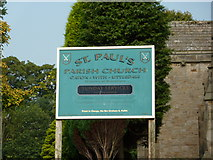 SD5464 : St Paul's Parish Church, Caton-with-Littledale, Sign by Alexander P Kapp