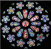 TG2608 : St Andrew's church in Thorpe St Andrew - west window by Evelyn Simak