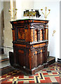 TM4679 : The church of SS Peter and Paul in Wangford - C17 pulpit by Evelyn Simak