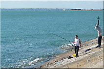 SZ6497 : Fishing at Southsea by Graham Horn