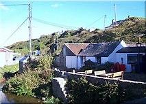 SH1726 : Outbuildings on the banks of Afon Daron by Eric Jones