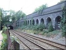 SP0585 : Retaining wall beside railway near Five Ways by David Smith