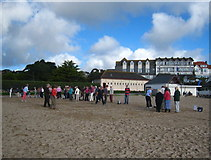 SW8031 : Boules on the beach at Gyllyngvase by Rod Allday