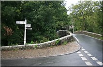 SX0166 : Signpost by the bridge by roger geach
