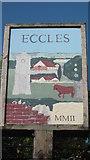 TQ7260 : Close-up Eccles Village Sign by David Anstiss