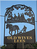TR0754 : Close-up of Old Wives Lees Village Sign by David Anstiss