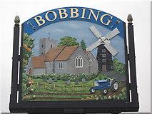 TQ8864 : Close-up of Bobbing Village Sign by David Anstiss