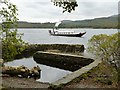 SD3195 : Coniston: the tiny harbour at Brantwood, with the S.Y.Gondola on the lake by Keith Salvesen