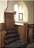 TF7633 : All Saints' church in Bircham Newton - the pulpit by Evelyn Simak