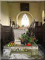 TF7633 : All Saints' church in Bircham Newton - Norman font by Evelyn Simak
