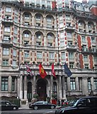 TQ2779 : Flags over the entrance to the Mandarin Oriental Hotel, Hyde Park Corner by Sarah Charlesworth