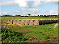 TM3995 : Straw bales in field south of Brundish by Evelyn Simak