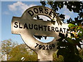 ST7926 : Gillingham: detail of Slaughtergate signpost by Chris Downer