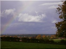 TQ1352 : Rainbow  seen over field from Polesden Road by Shazz