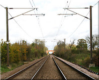 TM1585 : View along the Diss to Norwich railway line by Evelyn Simak